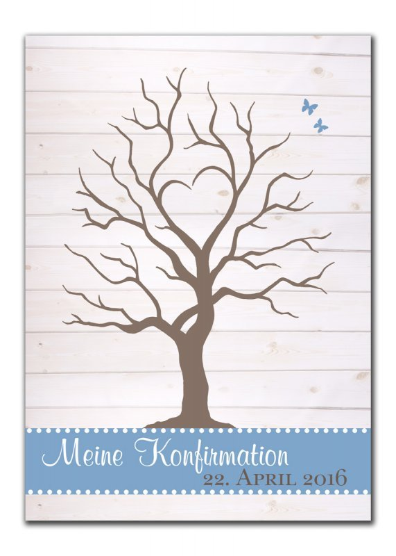 Gaestebaum Wedding Tree Konfirmation Hochzeit Simone blau